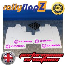 CORSA C (2000-2007) WHITE MUDFLAPS KIT (Logo Hot Pink)
